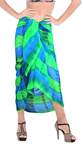 schiere leichten Chiffon der Hand der Frauen tie dye Strand Vertuschung Kleid Sarong Rock Grüne | Uns: 26W (2X) / Großbritannien: 28