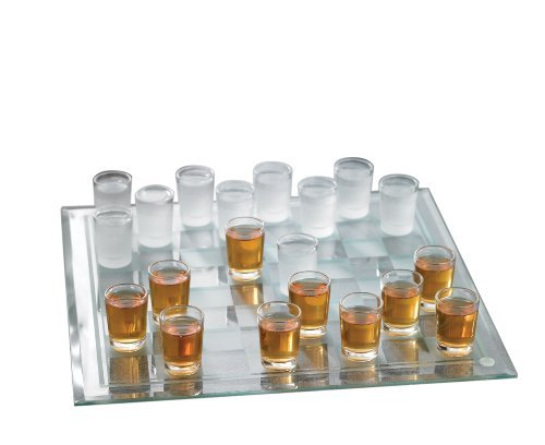 Checkers Shot Glass Bar Game Set by Crystal Clear Checker Crystal