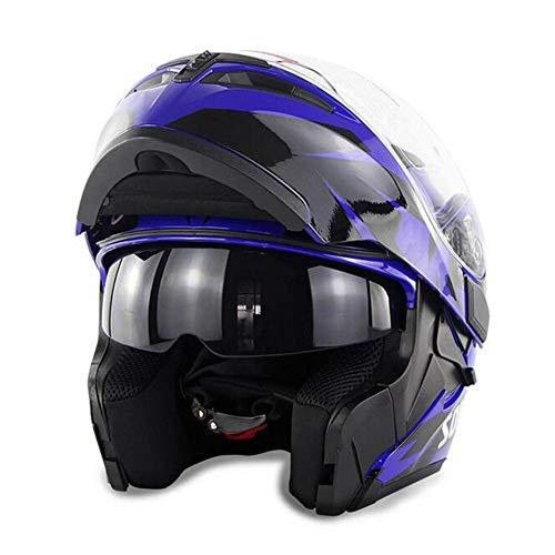 MISJIA Windsicherer Motorrad Warm-Helm enthüllt Helm Doppel-Linse Ganze-Gesicht-Lokschuch,A,M(57~58cm)