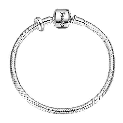 Soufeel 925er Silber Basis Armband mit Stopper Damen Armband 925 Sterling Silber für Charms Beads Anhänger 8.3 inch 21cm