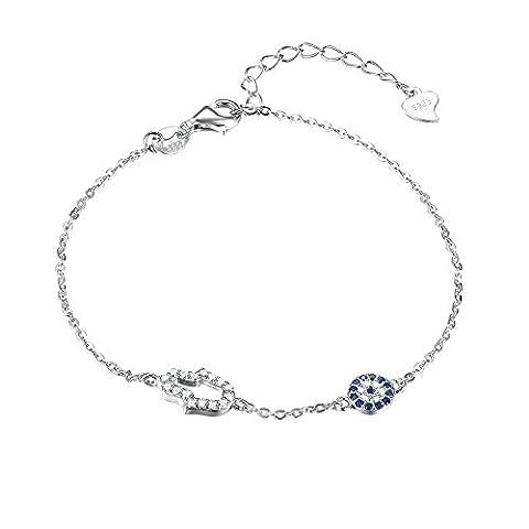 Kaletine mauvaisil Hamsa Amulette Main de Fatma Oxyde de Zirconium Strass Charmed Argent sterling Bracelet 7.5 x 11 mm câble Chaîne 16,5 cm + 3,8 cm
