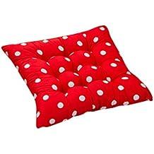Generic Cojín de Silla de Asiento Almohada de Sillas Comedor Decoración Oficina Jardín Patio Diseño de Puntos - Rojo