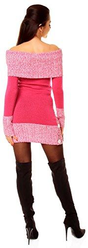 Zeta Ville - Vestito maglia Lungo maglione Bottoni pullover aderente Donna 913z Fucsia