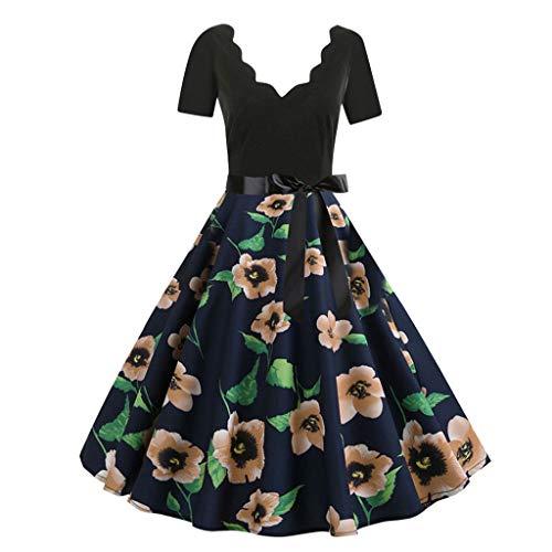 JMETRIC Damen Freizeitmode Gürtel Kleid Kurzarm V-Ausschnitt Knielock mit Blumendruck(Braun,2XL)