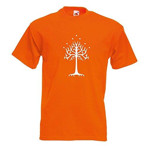 KIWISTAR - der Weiße Baum Gondors T-Shirt in 15 verschiedenen Farben - Herren Funshirt bedruckt Design Sprüche Spruch Motive Oberteil Baumwolle Print Größe S M L XL XXL Orange