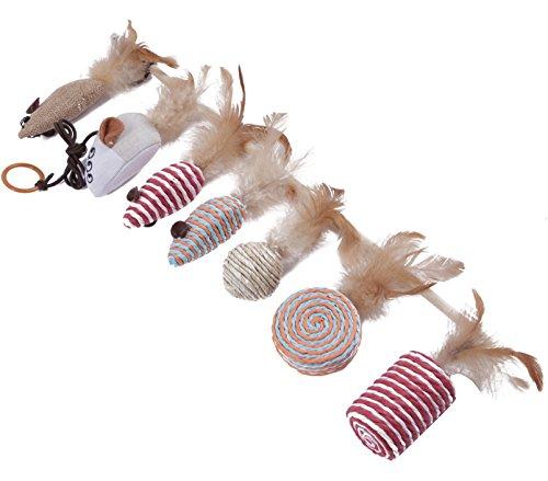 Katzenspielzeug Set – Interaktiv – Federn – Katzenangel – Stoffmäuse – Geschenkbox – The Natural Pet Company Qualitätsprodukt - 4