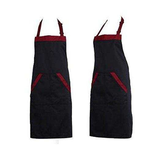Chefs Black Hosen (ZHIHUI 2 STÜCKE Schwarz Rot Unisex Chef Kochen Küche Catering Halterneck Schürze Lätzchen Mit 2 Taschen,Black)