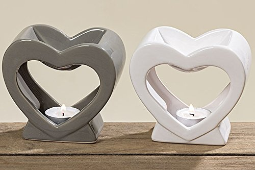 Duftstövchen Herz Dolomit grau o. weiß Länge 12 cm, Düfte, Duft, Kerze, Licht (grau)