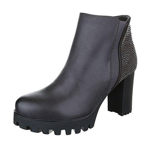 Ital-Design High Heel Stiefeletten Damen-Schuhe Pump Strass Besetzte Stiefeletten Dunkelgrau, Gr 38, 6017-Ga-