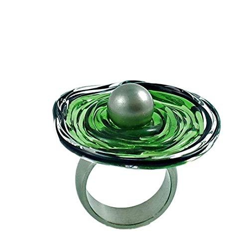 Edelstahl-Ring in Dunkelgrün mit Scheibe aus Murano-Glas | Glas-Schmuck Wechsel-Ring | Unikat | Personalisiertes Geschenk für sie zu Valentinstag Jahrestag Hochzeit Geburtstag Weihnachten Mama | d-g