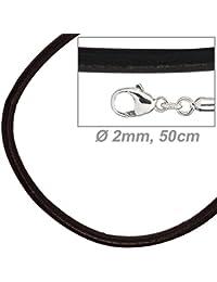 Riemen mit Silber Verschluss Ø3mm 50cm braun Lederband Halskette Leder-Kette