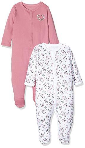 Name IT NOS Baby-Mädchen 13173256 Schlafstrampler, Mehrfarbig (Heather Rose Heather Rose), (Herstellergröße: 92) (2er Pack)
