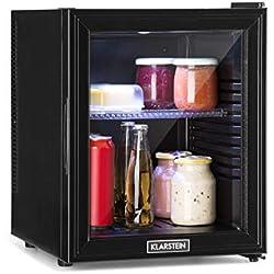 Klarstein Brooklyn 32L Réfrigérateur avec porte en verre • Mini-réfrigérateur • Mini-bar • 32 L • 0 dB • 12-15°C • Etagère en plastique • Éclairage LED • Noir