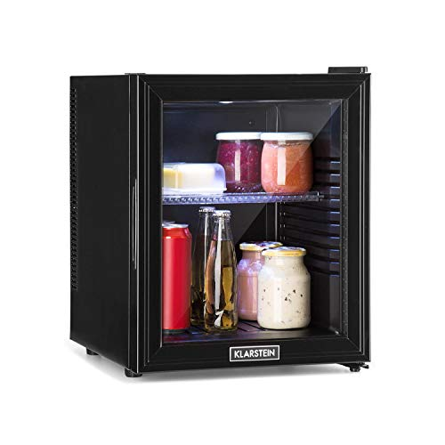 Klarstein Brooklyn 32L - Mini Frigo, Mini Bar, Porta in Vetro, 0 dB, 12-15 ° C, Ripiano in...