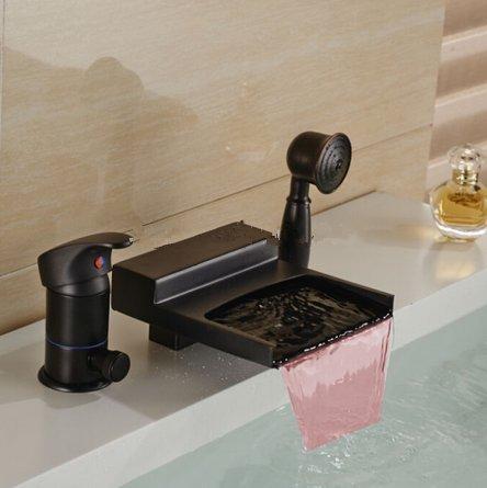 Inverseur Melangeur De Douche - Gowe LED Bronze huilé robinet cascade baignoire