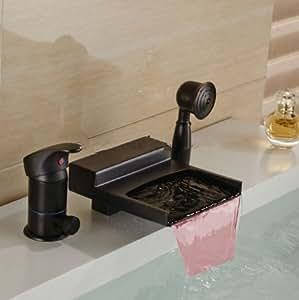 Gowe LED Bronze huilé Cascade Baignoire robinet Bec W/inverseur Mitigeur de douche à la main