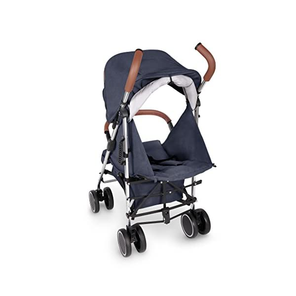 Ickle Bubba Baby Strollers   Lightweight Stroller Pushchair   Compact Fold Technology for Easy Transport and Storage   UPF 50+ Extendable Hood and Rain Cover   Discovery, Denim Blue/Silver Ickle Bubba ONE-HANDED 3 POSITION SEAT RECLINE: Baby stroller suitable from birth to 20kg-approx. 4 years old; features rain cover UPF 50+ RATED ADJUSTABLE HOOD: Includes a peekaboo window to keep an eye on the little one; extendable hood-UPF rated-to protect against the sun's harmful rays and inclement weather LIGHTWEIGHT DESIGN WITH COMPACT FOLD TECHNOLOGY: Easy to transport, aluminum frame is lightweight and portable-weighs only 7kg; folds compact for storage in small places; carry strap and leather shoulder pad included 7