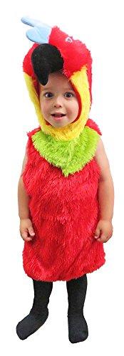 Bunter Papagei Kostüm für Kinder Gr. 74 (Papagei Kostüm Schnabel)