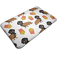 Zcfhike Dachshund Hot Dog and Fries Waterproof Indoor Outdoor Entrance Doormat Rug Floor Mats Shoe Scraper Doormat with Non Slip Backing,19.5x31.5 Inch