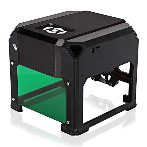 TOPQSC 1500mW Mini DIY Impresora de máquina de grabado USB, cortador de grabado láser de alta velocidad para madera, plástico, bambú, goma, cuero, área de trabajo: 75 x 75 mm (Negro)