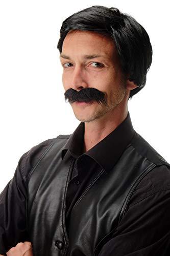 WIG ME UP - 4129-P103 Perücke & Bart Karneval Halloween Bandit Alte Schule Gentleman Südamerika Gangster Drogen Kartell Boss schwarz