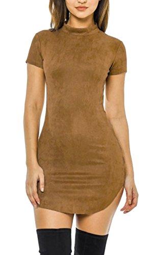 Kleider Damen Abendkleider Kurz Elegant Figurbetont A Linie Vintage Ballkleider Cocktailkleider Kamel
