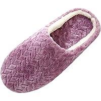 Qlans Zapatillas de Mujer Zapatillas de Felpa para el hogar de Invierno Zapatillas cómodas, cálidas, acogedoras, Antideslizantes, para Interiores y Exteriores