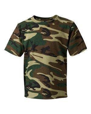 Youth Camouflage T-Shirt GREEN WOODLAND M (Woodland T-shirt Kids Camouflage)
