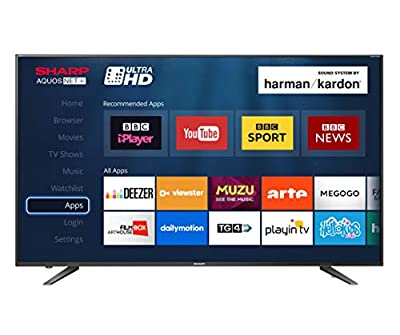 Sharp LC-60UI7652K 60-inch 4K UHD HDR Smart TV with Freeview HD, 3 x HDMI, 2 x USB 2.0, USB 3.0, USB Record - Black