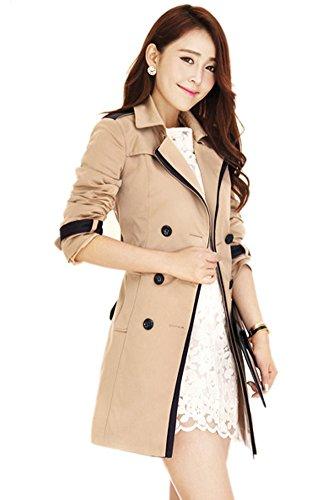 LATH.PIN Femme Revers Splice Manteau Slim Trench Jacket avec Ceinture de Taille Double Boutonnage Manteau Vetements d