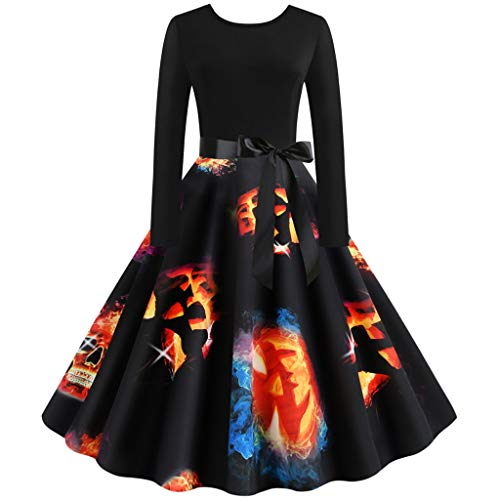 Trisee Damen Halloween Kostüm 50er Jahre Hausfrau Abend Party Prom Kleid Knielang Karneval Fasching Kostüm Festliche Kleid Pumpkin Skull Retro Cocktailkleid (Kostüm Party Gutschein)