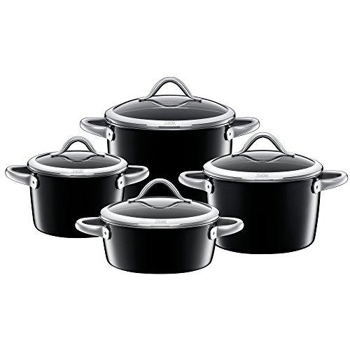 Silit Vitaliano Nero Topfset 4-teilig mit Glasdeckek, Silargan Funktionskeramik, Schüttrand, induktionsgeeignet, spülmaschinengeeignet, schwarz