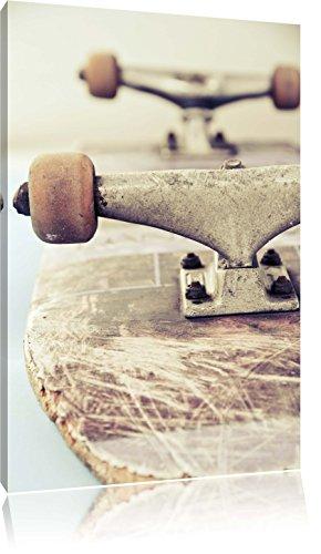 Skateboard schwarz weiß Format: 60x40 cm auf Leinwand, XXL riesige Bilder fertig gerahmt mit Keilrahmen, Kunstdruck auf Wandbild mit Rahmen, günstiger als Gemälde oder Ölbild, kein Poster oder Plakat