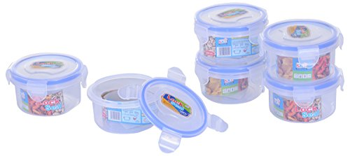 SKI Round Lock & Seal Containers 250 ML - Set of 6 Containers/Airtight boxes.