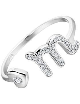 M Buchstabe Zirkon Taurus Star Sternzeichen Ring 925Sterling Silber Ring minimalistische Jewelry Mädchen