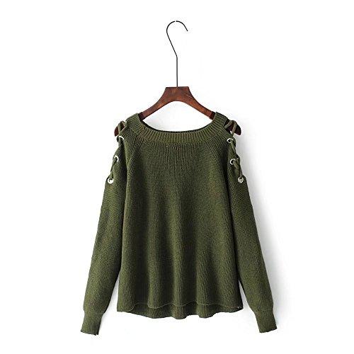 HUA&X Féminin lâche l'Épaule chandail tricoté Top col en V pull en tricot green