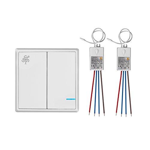 TSSS Dual-Wege Wireless Licht Schalter mit Empfänger - Fernbedienung Multi-Einheit Beleuchtung Lampen - Schnell erstellen Ein / Aus Verdrahtung Schalter-Panel - Outdoor 1900ft Innenaufnahme 160ft (Steuerung Wand-einheit)