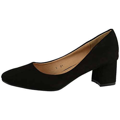 ByPublicDemand Angeline Womens Low Mid Block Heels Slip Black Faux Suede 5...