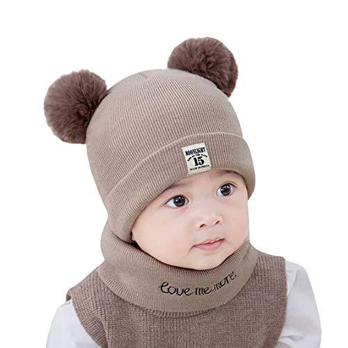 Minion Kostüm Baby Tragen - Y56 Winter Warm Crochet Strickmütze Beanie Cap Schal Set Neugeborenes Kleinkind Kinder Mädchen Jungen Baby Pom Hut Kappen Häkelstrick Wintermütze (Coffee)