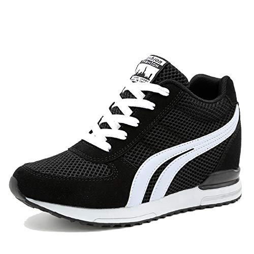 LILY999 Sneakers mit Keilabsatz Damen Wedges Turnschuhe Atmungsaktive Sportschuhe Freizeitschuhe(Schwarz,Größe 36)