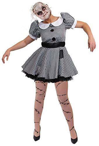 Rag Kostüm Damen Doll - ILOVEFANCYDRESS RAG-DOLL/Stoff Puppen Kleid KOSTÜM VERKLEIDUNG =Fasching Karneval Halloween Themen Party Frauen =ERHALTBAR MIT ODER OHNE ZUBEHÖR = Strumpfhose+Maske +Kleid/SMALL