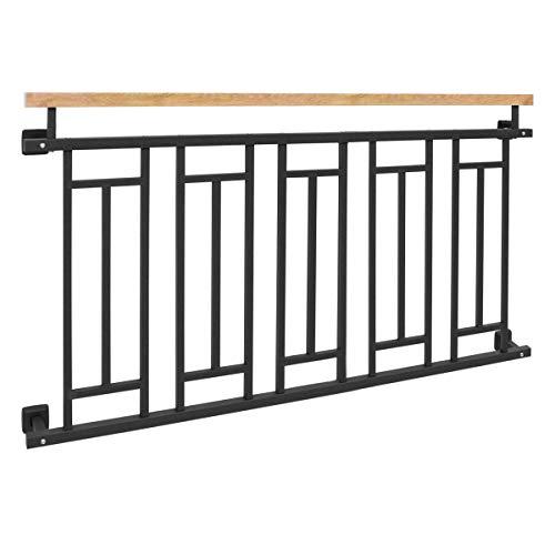 ECD Germany Balcon français 156 x 90 cm, balustrade de balcon effet bois en acier anthracite ma