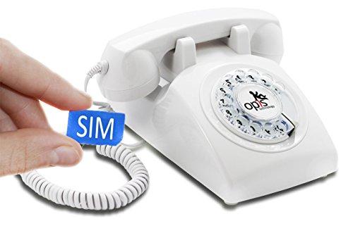 OPIS 60s MOBILE: móvil de sobremesa / teléfono GSM / teléfono de escritorio GSM / telefono retro móvil con disco de marcar (blanco)