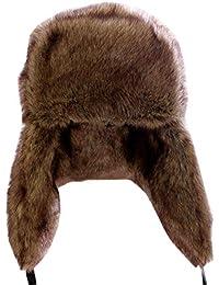Sombrero Gorro De Piel Sintética para Mujer Hombres Cálido Sombrero con  Orejeras para Invierno 3aa838ee4f31