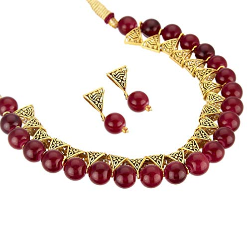 Jewels Galaxy Exclusive Edition Beaded Antique Marvelous Necklace Set for Women/Girls