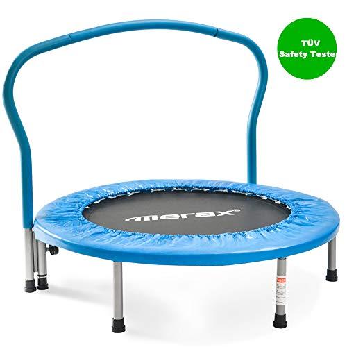 SEGMART Trampolin Outdoor, Faltbar Klappbare Mini Trampolin TÜV-Geprüft Kindertrampolin mit Rutschfestem Trampolin Sprungtuch & Haltegriff für Jumping Fitness bis 80kg (Blau)