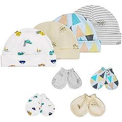 HBselect Gorritos y Manoplas Algodon Bebe Recien Nacido Sombrero y Guantes para Bebe Niñas