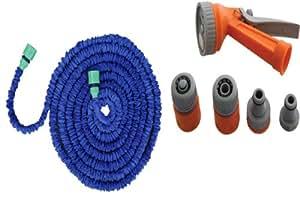 """Gartenschlauch """"Magic magischer Flexibler Schlauch XL 15m/XXL 23M/XXXL 30m erhältlich in blau, orange oder grün mit passender Sprühpistole/Brause (7verschiedene Einstellungen) Sonderangebot. Eine tolle Geschenkidee zu einem tollen Preis."""