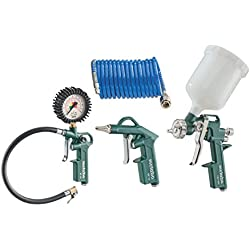 Metabo Druckluft Werkzeugset LPZ 4; Reifendruckmessung, Farbspritzpistole, Blaspistole, Spiralschlauch; 4-tlg. - 601585000