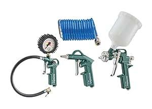 Metabo Druckluft-Werkzeugset LPZ DL/qualitatives Druckluftwerkzeug für Kompressor/Set mit Blaspistole, Reifenfüllmessgerät, Farbspritzpistole und Spiralschlauch